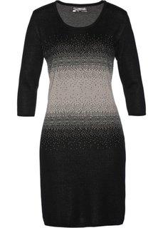 Вязаное платье (черный/натуральный камень) Bonprix