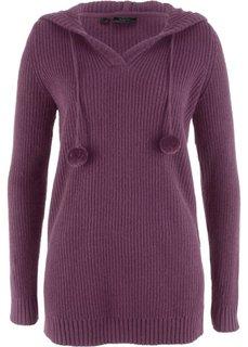 Длинный пуловер с капюшоном (цвет бузины) Bonprix