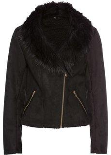 Куртка из искусственной замши с искусственным мехом (черный) Bonprix