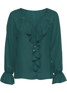 Блузка с воланами (зеленый) Bonprix