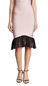 Herve Leger Lace Trim Midi Skirt