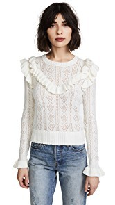 LOVESHACKFANCY Natalie Ruffle Sweater