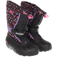 женский Sorel Youth Flurry Print black Pink Ice