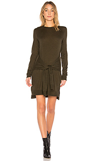 Odylyne tunic dress with sleeve ties a in dark fatigue - BCBGMAXAZRIA