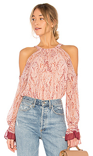 Sessilee long sleeve cold shoulder top in bare pink combo - BCBGMAXAZRIA