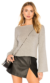 Ribbed cross back crop sweater in light heather grey - BCBGeneration