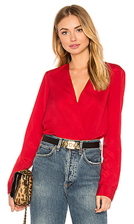 Shirt cuff surplice top in chili pepper - BCBGeneration