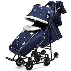 Санки-коляска ABC Academy Pikate Авто Звезды на чёрной раме, синий