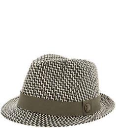 Плетеная шляпа с широкой лентой цвета хаки Goorin Bros.