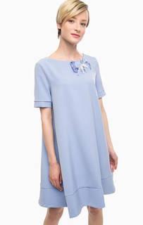 Синее платье расклешенного силуэта Pois