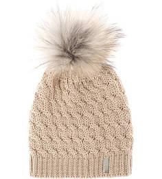 Бежевая шерстяная шапка с помпоном Capo