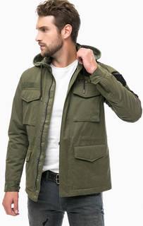 Куртка цвета хаки с контрастными нашивками Replay
