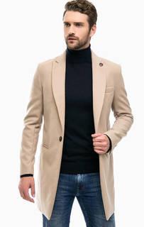 Бежевое пальто с разрезом Besilent