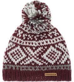 Бордовая шапка с текстильным помпоном Canadian