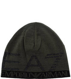 Трикотажная шапка цвета хаки EA7