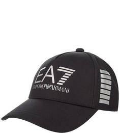 Черная бейсболка с логотипом бренда EA7