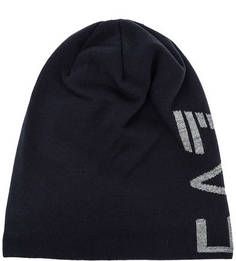 Синяя трикотажная шапка с логотипом бренда EA7