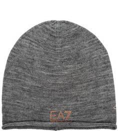 Серая шапка с декоративной отделкой EA7