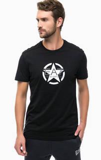 Черная футболка с разрезами по бокам EA7