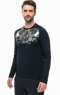 Синяя футболка с длинными рукавами EA7