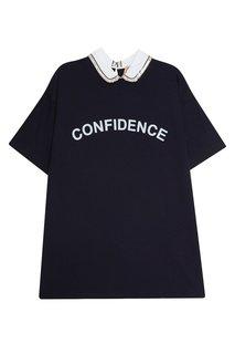Хлопковая футболка с контрастным воротником No.21