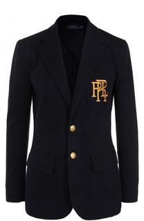 Приталенный жакет с вышитым логотипом бренда Polo Ralph Lauren