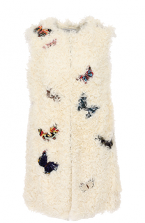 Жилет из меха овчины с вышивкой в виде бабочек Valentino