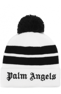 Вязаная шапка с помпоном и логотипом бренда на отвороте Palm Angels