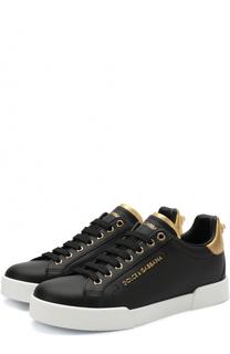 Кожаные кеды Portofino с контрастной отделкой Dolce & Gabbana