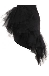 Шерстяная мини-юбка с оборками Saint Laurent