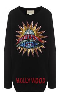 Хлопковый свитшот свободного кроя с вышивкой пайетками Gucci