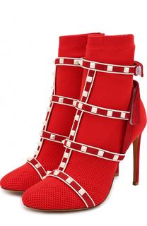 Текстильные ботильоны Free Rockstud Bodytech на шпильке Valentino