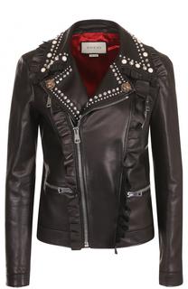 Кожаная куртка с косой молнией и декоративной отделкой Gucci