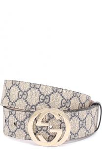 Текстильный ремень GG Supreme и фигурной пряжкой Gucci