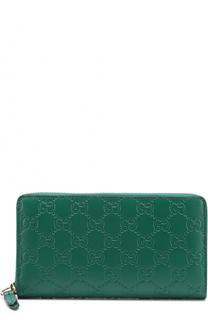 Кожаный кошелек с тиснением Signature на молнии Gucci