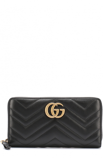 Кожаный кошелек на молнии с логотипом бренда Gucci