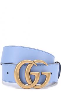 Кожаный ремень с логотипом бренда на пряжке Gucci