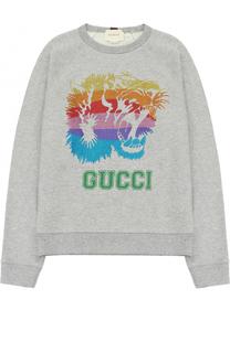Хлопковый свитшот с принтом и глиттером Gucci