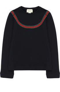 Хлопковый свитшот с контрастной отделкой Gucci