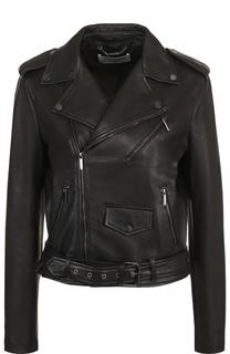 Приталенная кожаная куртка с косой молнией BOSS