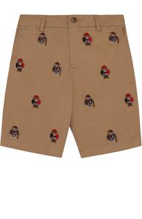 Хлопковые шорты с вышивками Polo Ralph Lauren