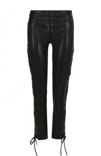 Укороченные кожаные брюки со шнуровкой Frame Denim
