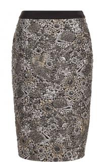 Жаккардовая юбка-миди с контрастным поясом Escada
