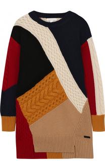 Мини-платье из шерсти и кашемира фактурной вязки Burberry
