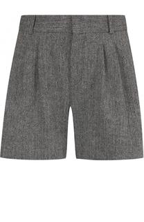 Шерстяные мини-шорты с защипами Chloé