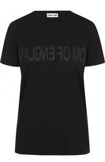 Хлопковая футболка прямого кроя с круглым вырезом Helmut Lang