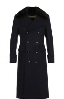 Двубортное шерстяное пальто с меховым воротником Burberry