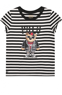 Хлопковая футболка в полоску с принтом Polo Ralph Lauren