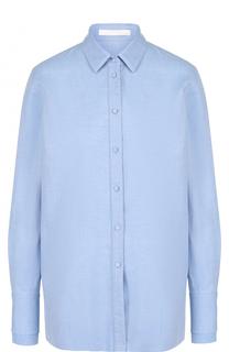 Хлопковая блуза прямого кроя с накладным карманом BOSS