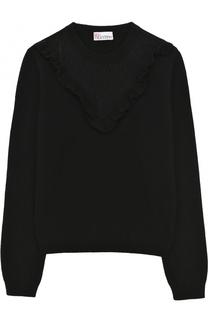 Шерстяной пуловер с круглым вырезом и кружевной вставкой REDVALENTINO
